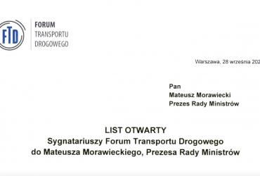 List otwarty sygnatariuszy FTD do Prezesa Rady Ministrów Mateusza Morawieckiego w sprawie nowego systemu opłat drogowych e-TOLL.